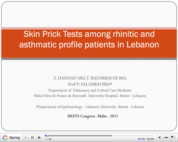 Skin Prick Tests among rhinitic and asthmatic profile patients in Lebanon. Y. Haddad