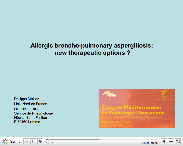 Allergic broncho-pulmonary aspergillosis new therapeutic options. Philippe Mulliez