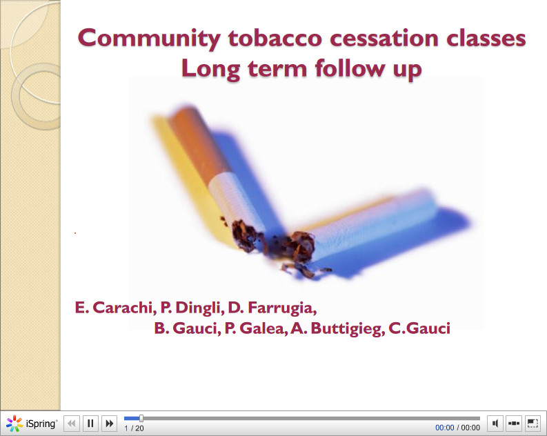 Community tobacco cessation classes Long term follow up. E. Carachi