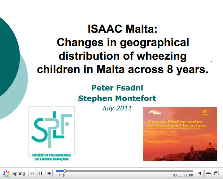 ISAAC Malta, Changes in geographical distribution of wheezing children in Malta across 8 years. Peter Fsadni