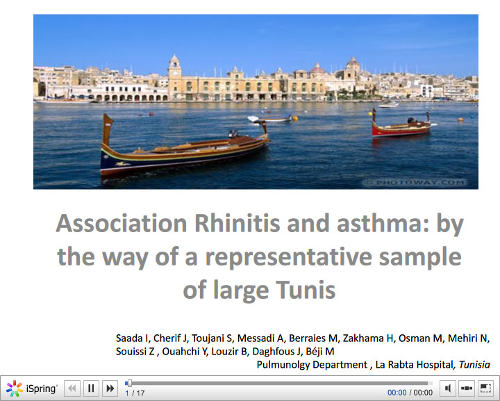 Association Rhinitis and asthma by the way of a representative sample of large Tunis. I. Saada