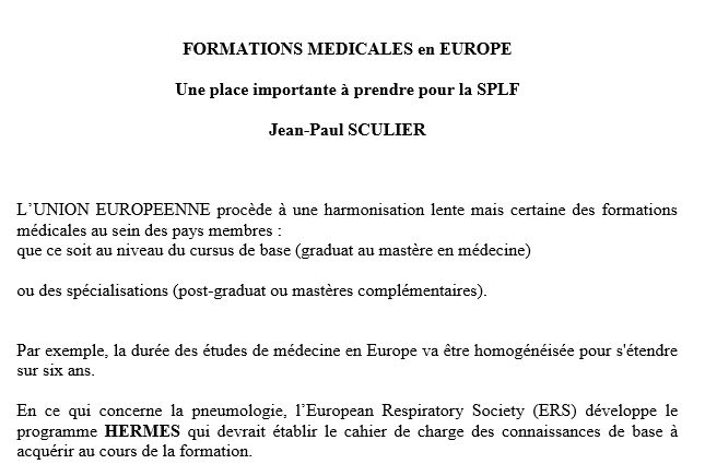 Table ronde sur les formations en Europe. Jean-Paul SCULIER
