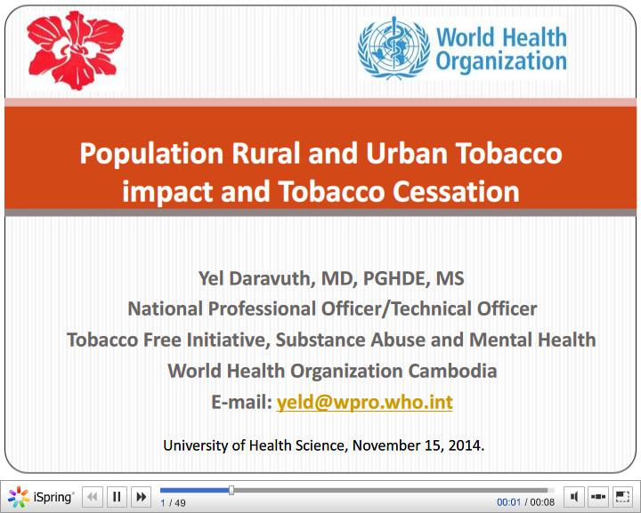 Population Rural and Urban Tabacco Impact and Tabacco Cession. Yel Daravuth