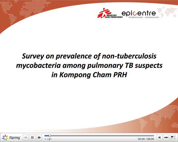 Survey on prevalence of non-tuberculosis mycobacteria among pulmonary TB suspects in Kompong Cham PRH