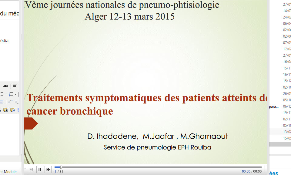 Traitements symptomatiques des patients atteints de cancer bronchique. D. Ihadadene