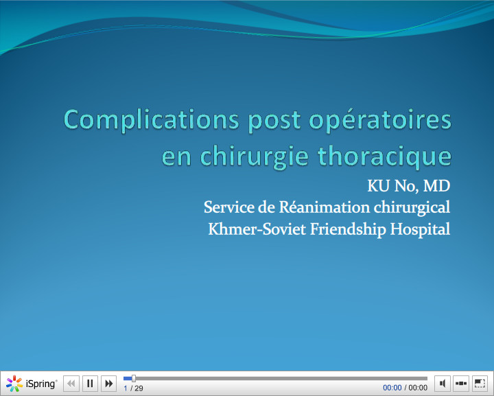 Complications post opératoires en chirurgie thoracique. KU No