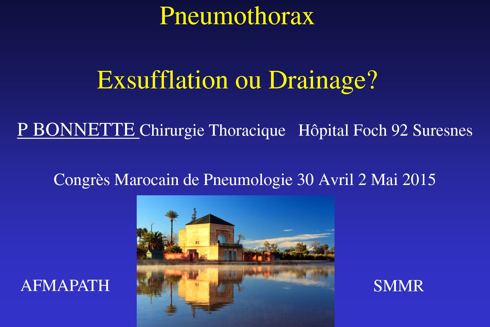 Pneumothorax Exsufflation vs Drainage. P. BONNETTE